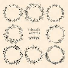 Text For Invitation Card Hand Drawn Wreaths With A Place For Your Text Circle Wreath For