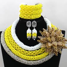 beading necklace styles images Yellow mix elegant latest style statement african beads with jpg
