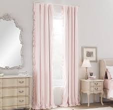 Light Pink Curtains For Nursery Washed Velvet Ruffle Drapery Panel