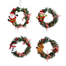 2pcs ring wreaths ornaments santa clause pinecone pink bow