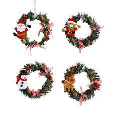 2pcs ring wreaths ornaments santa clause pinecone pink bow