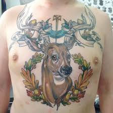 awesome colored deer chest tattooshunt com