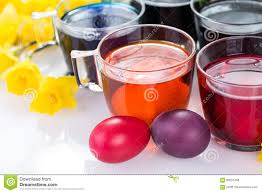 glasses with colored food colors for traditional easter egg