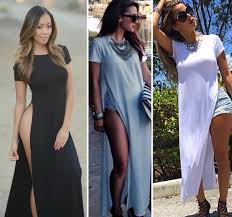Plus Size T Shirt Maxi Dress With Side Slits Prom Dresses Cheap