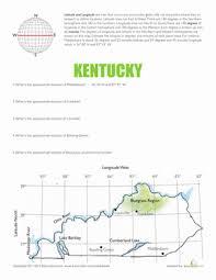 latitude and longitude kentucky worksheet education com