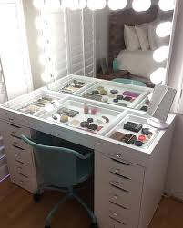 Make Up Tables Vanities Crisp White Finish Slaystation Make Up Vanity With Premium Storage