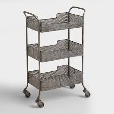 industrial iron wood kitchen trolley natural black buy kitchen rolling carts wood metal rustic styles world market