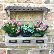 shabby chic wooden garden planter pots herb window box wall or