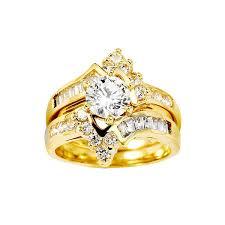 Yellow Gold Wedding Rings by 14k Yellow Gold Round Center Cz Wedding Ring Set Grapi S C