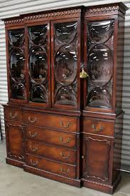 Vintage Cabinets For Sale by Antique Vintage Wood China Cabinet Hutch Bubble Glass Front Locks