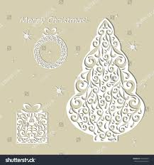 christmas openwork white paper card stencil stock vector 519464929