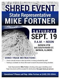 where to shred papers for free illinois state representative mike fortner fortner to host