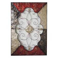 40 x 60 in red and gray ornate scroll wall décor at home at home