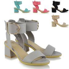 ladies ankle strap sandals low block heel womens peep toe party