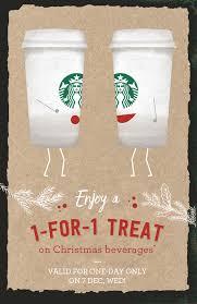 1 for 1 starbucks christmas drinks when you pay using starbucks