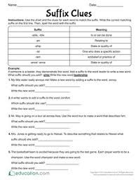 suffixes worksheets education com