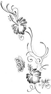 butterfly and hibiscus flowers design