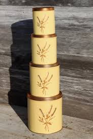 retro canisters kitchen mid century vintage decoware kitchen canisters w copper cattails
