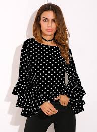 black polka dot blouse s neck flounce sleeve polka dot blouse roawe com