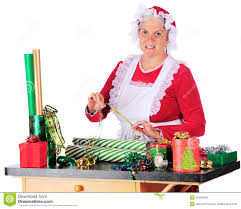mrs clause wrapping gifts stock photo image 35409690