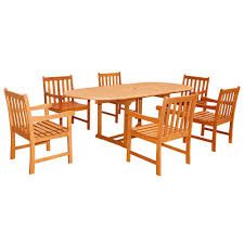 Outdoor Dining Room Vifah Eco Friendly 7 Piece Wood Outdoor Dining Set With Oval