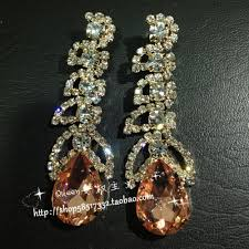 rhinestone earrings chagne color drop gem rhinestone earrings
