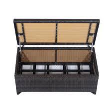 Wicker Storage Bench Outsunny Rattan Storage Bench 102lx51wx51h Cm Mixed Brown Aosom
