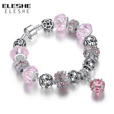 murano glass beads bracelet silver images Eleshe 925 antique silver crystal charm bracelet for women pink jpg
