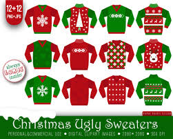 12 ugly christmas sweaters clipart white red green xmas