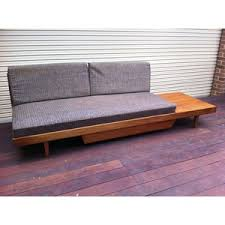 retro vintage danish style timber veneer daybed day bed sofa
