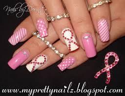 breast cancer awareness nails think pink ribbon nail art tutorial