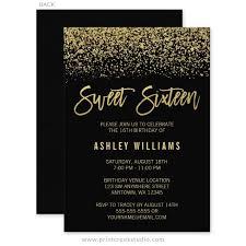 sweet 16 invitations modern black faux gold glitter sweet 16 invitations sweet 16