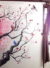 decoration cherry blossom decorations with birds on the bench wall