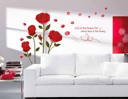 bedroom wall stickers ufengke romantic red rose flowers wall decals living room bedroom