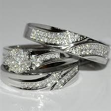 wedding set rings trio wedding set three mens band and womens bridal rings 10k