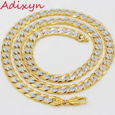 gold colored chain necklace images Adixyn two tone gold color chain necklace men women collier rapper jpg