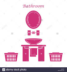 cute vector illustration with variety bathroom elements mirror