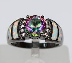 white fire rings images Graceful black rhodium plated white fire opal rings with mystic jpg