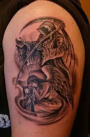 tattoo designs yoga grim reaper tattoo on back 1 black and grey
