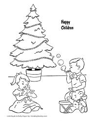 christmas tree coloring pages christmas tree waiting santa