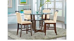 High Dining Room Tables Ciara Espresso 5 Pc Counter Height Dining Set Cream Chairs