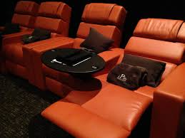 comfortable home theater seating movie room home room with grey walls featuring home theater
