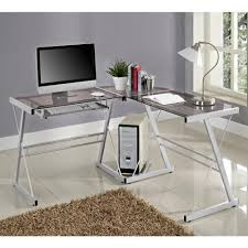 walker edison corner computer desk walker edison 3 piece contemporary glass and steel desk silver