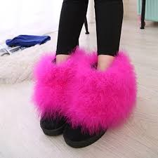 womens fur boots size 9 winter boots toe suede feather fur flat