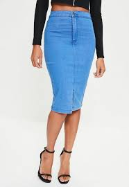 high waisted skirts blue high waisted midi denim skirt missguided
