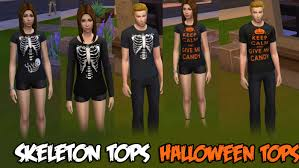 Halloween Skeleton Pregnancy Shirts Mod The Sims Sims 4 Halloween Tops Nonreplacement