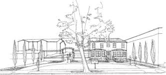 the ballard house architectural sketch front view by barrett