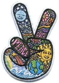 peace sign fingers dan morris embroidered iron on patch ph527 sun