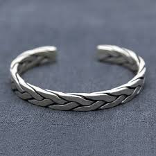 cuff bracelet mens images Men 39 s sterling silver heavy braided cuff bracelet jpg