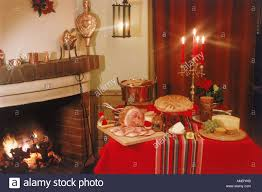 traditional food and home decorations for family christmas dinner
